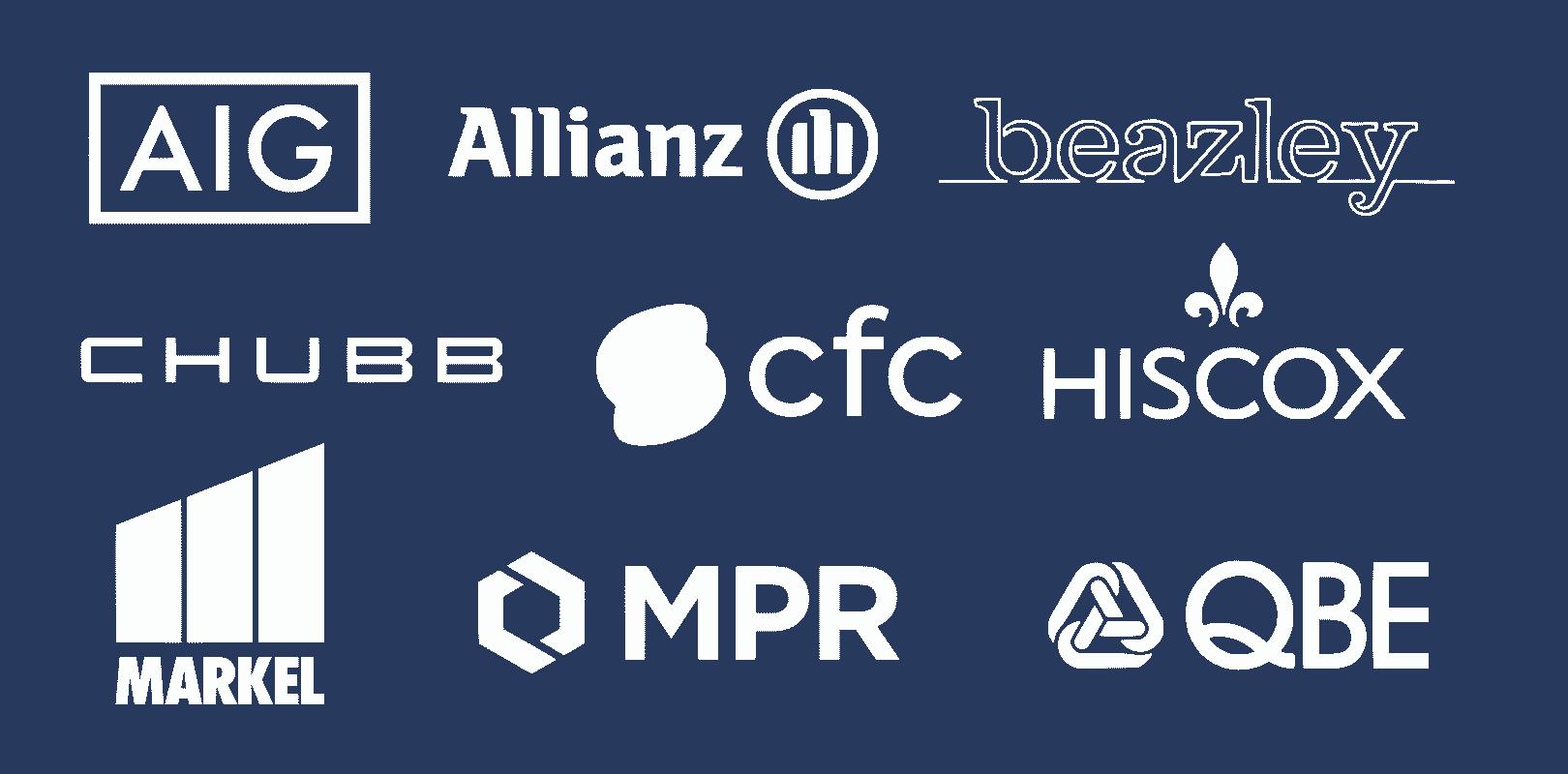 Leading cyber insurance providers include: AIG, Allianz, Beazley, Chubb, CFC, Hiscox, Markel, MPR, and QBE.