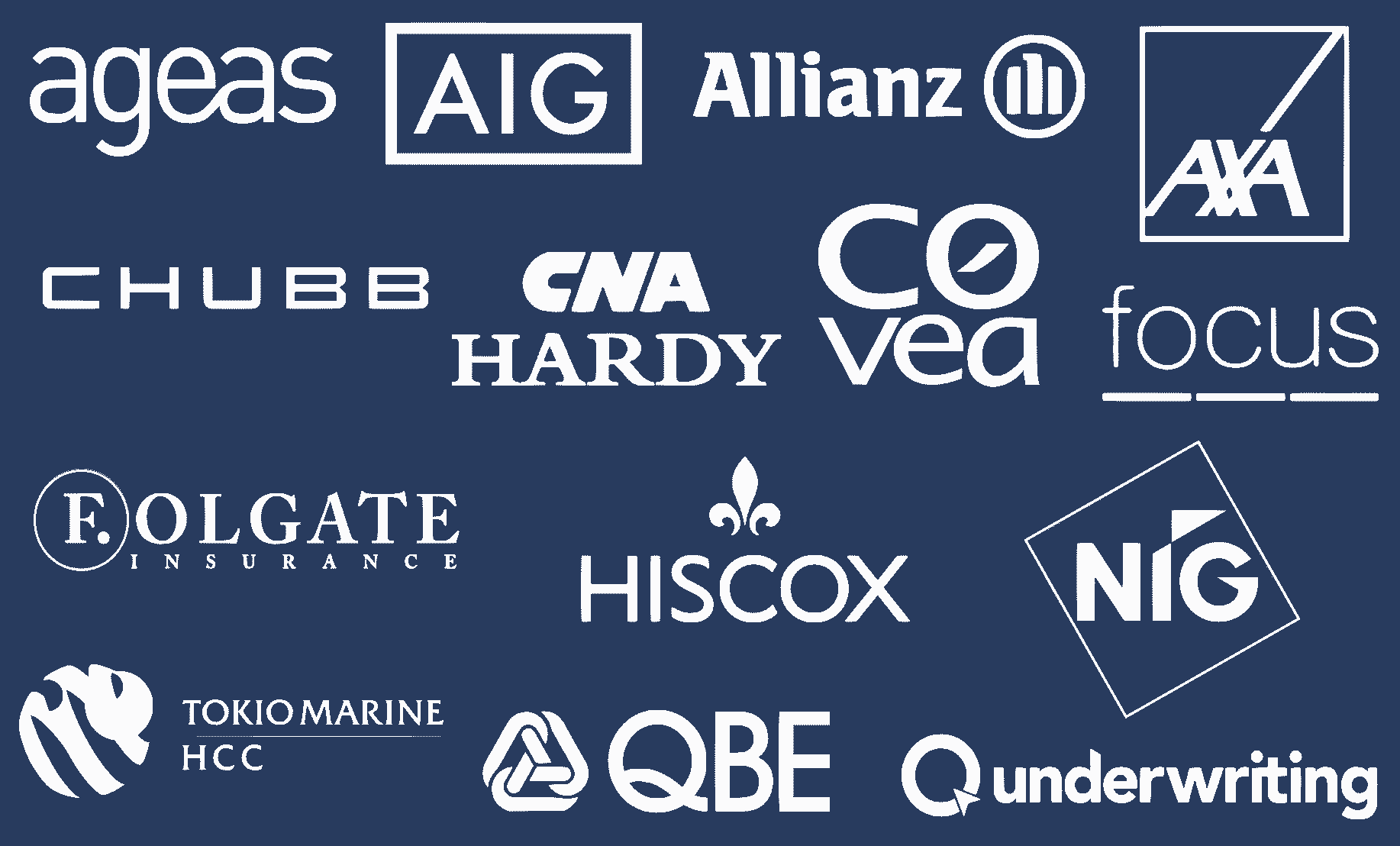 Leading contractors all risk providers include: Ageas, AIG, Allianz, AXA, Chubb, CNA Hardy, Covea, Focus, Folgate, Hiscox, NIG, Tokio Marine, QBE and Q Underwriting.