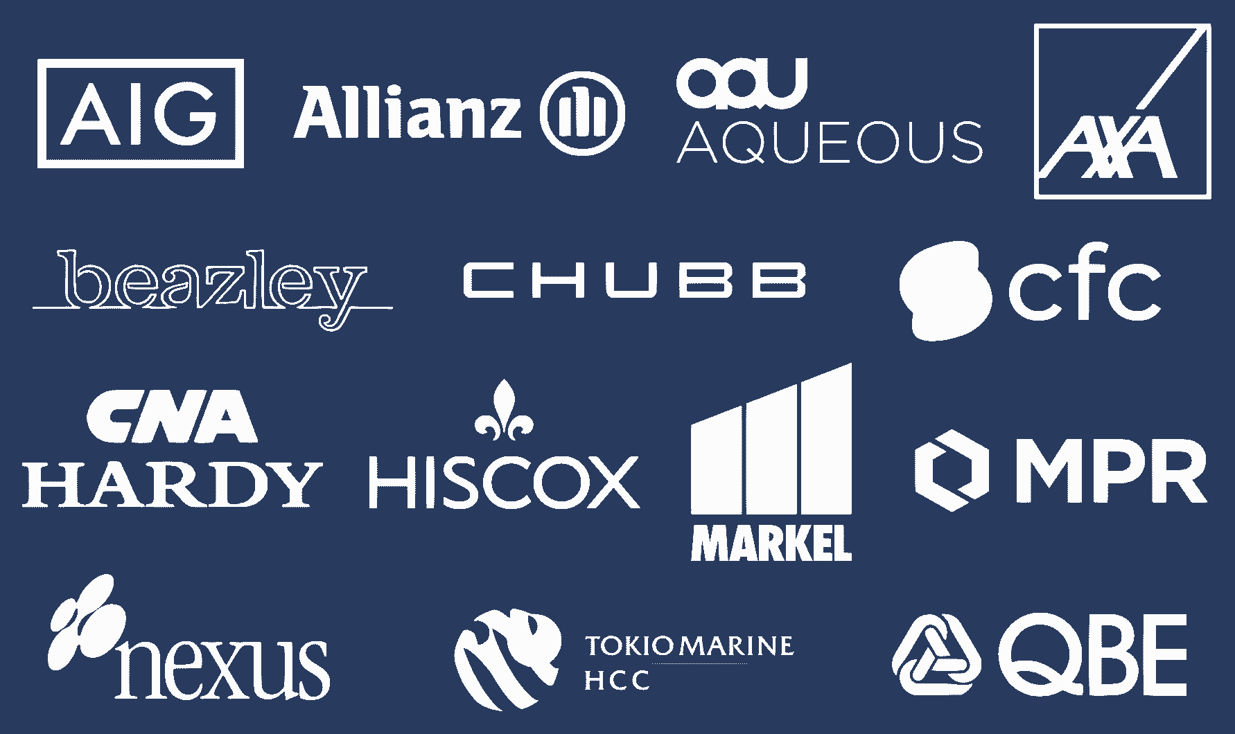 Leading PI insurance providers include: AIG, Allianz, Aqueous, AXA, Beazley, Chubb, CFC, CNA Hardy, Hiscox, Markel, MPR, Nexus, Tokio Marine, and QBE.
